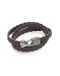 Stephen Webster Gray Men's Braided Leather Bracelet - Brown for men