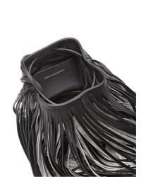 CALVIN KLEIN 205W39NYC - Black Fringed Leather Bucket Bag - Lyst