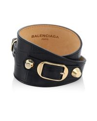 Balenciaga - Black Carry Over Stamp Croc Wrap Leather Bracelet - Lyst