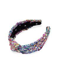 Lele Sadoughi Metallic Shimmer Confetti Yarn Knot Headband