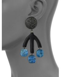 Nest - Black Pave Horn Teal Apatite Drop Earrings - Lyst