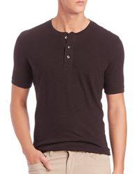 Vince - Black Basic Cotton Henley T-Shirt for Men - Lyst