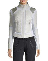 BLANC NOIR - Gray Women's Leather Moto Jacket - Grey - Size Small - Lyst
