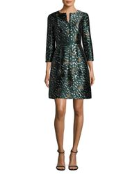 Yigal Azrouël Green Cheetah-print Mikado Dress