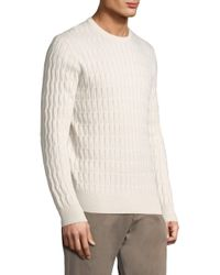Eleventy - White Men's Cabled Cashmere Crewneck - Ivory for Men - Lyst