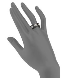 De Beers - Moonlight Enchanted Lotus Diamond, 18k White Gold & Black Ceramic Band Ring - Lyst