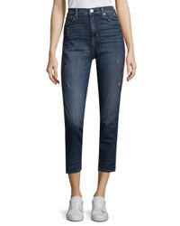 Hudson Blue Zoey High Rise Straight Jeans With Racing Stripe