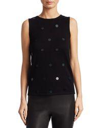 Saks Fifth Avenue Black Pailette Sweater Shell