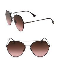 Fendi - Brown Women's 55mm Notched Aviator Sunglasses - Plum - Lyst