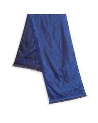 Etro Blue Paisley-print Silk Scarf for men
