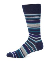 Saks Fifth Avenue - Blue Merino Striped Socks for Men - Lyst