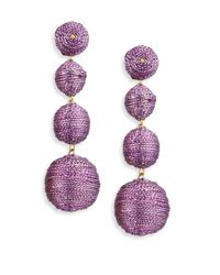 Kenneth Jay Lane - Three Thread Ball Drop Earrings/purple - Lyst