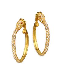 Kenneth Jay Lane - Metallic Pave Snake Hoop Earrings - Lyst