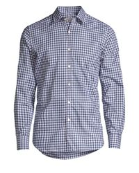 Canali Blue Modern-fit Check Sport Shirt for men