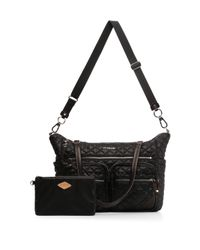 MZ Wallace - Black Quilted Crossbody Traveler Bag - Lyst