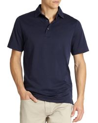 Saks Fifth Avenue - Blue Oxford Performance Polo for Men - Lyst