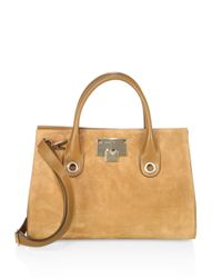 Jimmy Choo Multicolor Riley Suede & Leather Tote
