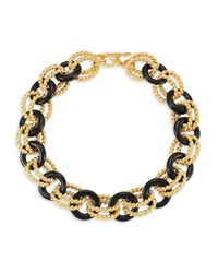 Kenneth Jay Lane Black Two-tone Link Necklace