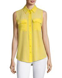 Equipment Yellow Slim Signature Silk Sleeveless Shirt