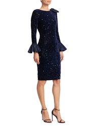 3a33aa738a37 Teri Jon. Blue Women s Taffeta Bell-sleeve Velvet Sequin Bodycon Dress ...