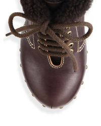 See By Chloé - Brown Clive Faux Leather & Shearling Clog Wedge Booties - Lyst
