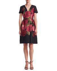 Carolina Herrera - Red Floral Fit-&-flare Dress - Lyst