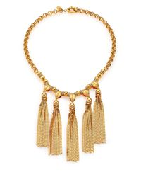 House of Lavande - Metallic Sunset Crystal Tiered Tassel Necklace - Lyst