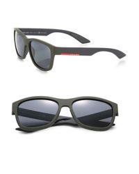 Prada Green Linea Rossa 57mm Rectangle Sunglasses for men