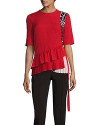 Yigal Azrouël Red Silk Pleated Top