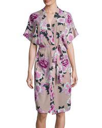 Fleur du Mal Pink Printed Silk Robe
