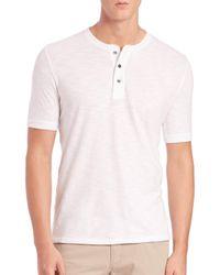 Vince - White Short-sleeve Cotton Henley for Men - Lyst