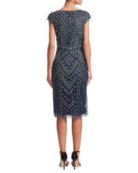 THEIA Black Beaded Cap-sleeve Dress