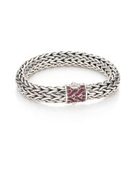 John Hardy - Metallic Classic Chain Red Sapphire & Sterling Silver Large Bracelet - Lyst