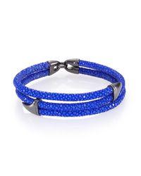 Stinghd Blackened Silver & Stingray Wrap Shark Fin Bracelet for men