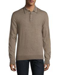 Saks Fifth Avenue Natural Merino Wool Long Sleeve Polo for men