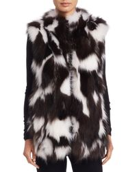 Saks Fifth Avenue - White Sectioned Fox Fur Vest - Lyst
