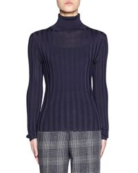 Acne Blue Women's Fitted Long-sleeve Turtleneck Sweater - Navy - Size Large