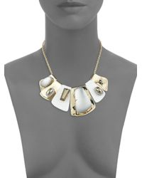 Alexis Bittar Gray Lucite Large Articulated Bib Crystal Necklace