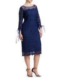 Marina Rinaldi Blue Lace Cocktail Dress