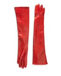 Saks Fifth Avenue - Red Silk-lined Leather Opera Gloves - Lyst