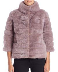 Saks Fifth Avenue - Purple Three-quarter Sleeve Mink Fur Jacket - Lyst