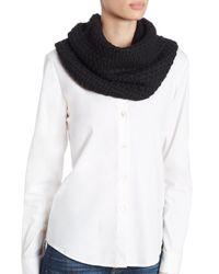 Portolano White Popcorn-knit Wool-blend Neckwarmer