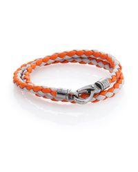 Tod's - Orange Leather Double-wrapped Bracelet - Lyst