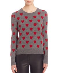 Burberry - Gray Heart-intarsia Merino Wool Jumper - Lyst