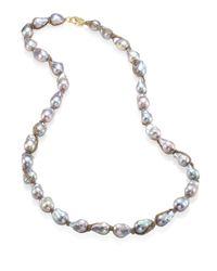 Jordan Alexander - Metallic 15mm Silver Baroque Pearl, Diamond & 18k Tri-gold Wrapped Necklace - Lyst