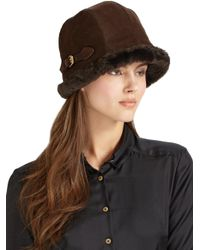 Eric Javits - Black Vail Suede & Faux Shearling Hat - Lyst