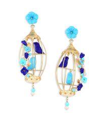 Of Rare Origin - Blue Lovebirds Lapis, Turquoise, Horn & Freshwater Pearl Drop Earrings - Lyst