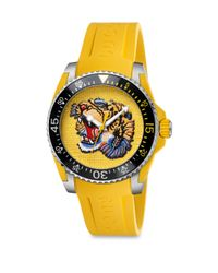 Gucci - Metallic Dive Stainless Steel & Yellow Rubber Strap Watch - Lyst