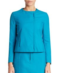 Akris | Blue Hadrian Cotton Double Face Jacket | Lyst
