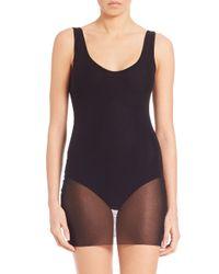 Fuzzi - Black One-piece Tulle-overlay Swimsuit - Lyst